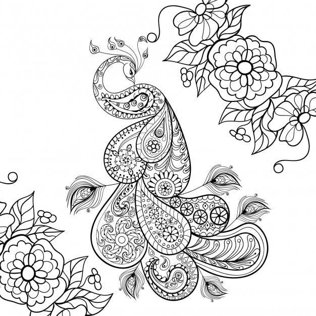 Zen Tangle Peacock Totem In Flowers Vector
