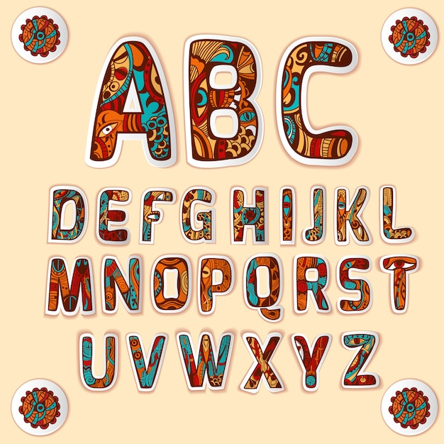 Zentangle alphabet colored letters stickers set Free Vector