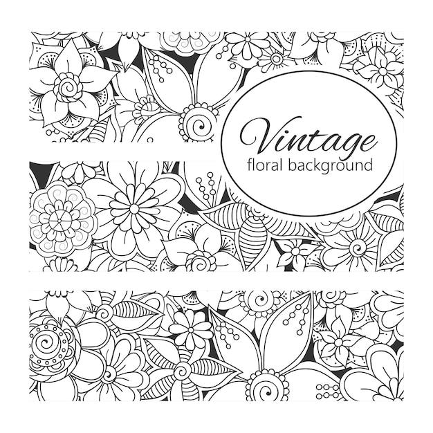 Zentangle flowerの花のコンポジション。 無料ベクター