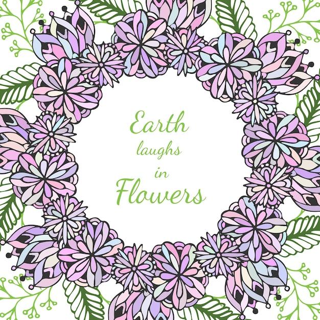 Zentangleフレーム。ベクトルで落書きの花のパターン。クリエイティブな花の背景は、包装やぬりえの本のデザイン。 Premiumベクター