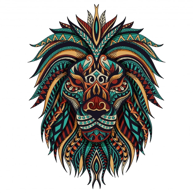Zentangle lion vector illustration Premium Vector