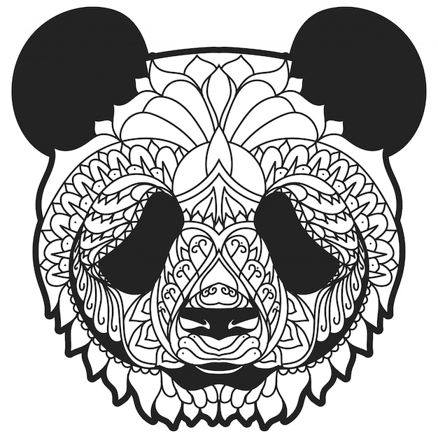 Zentangle panda line art vector illustration Premium Vector