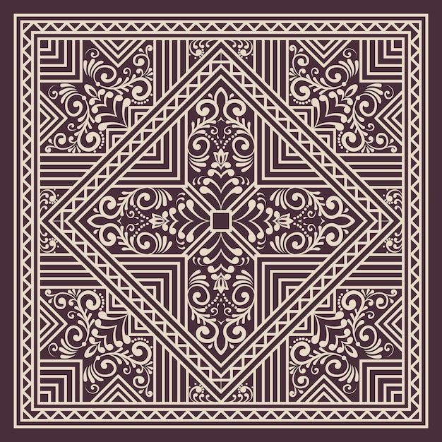 Zentangle styled geometric ornament pattern element. orient traditional ornament. boho styled. abstract geometric seamless pattern elegant element for cards and invitations. Free Vector