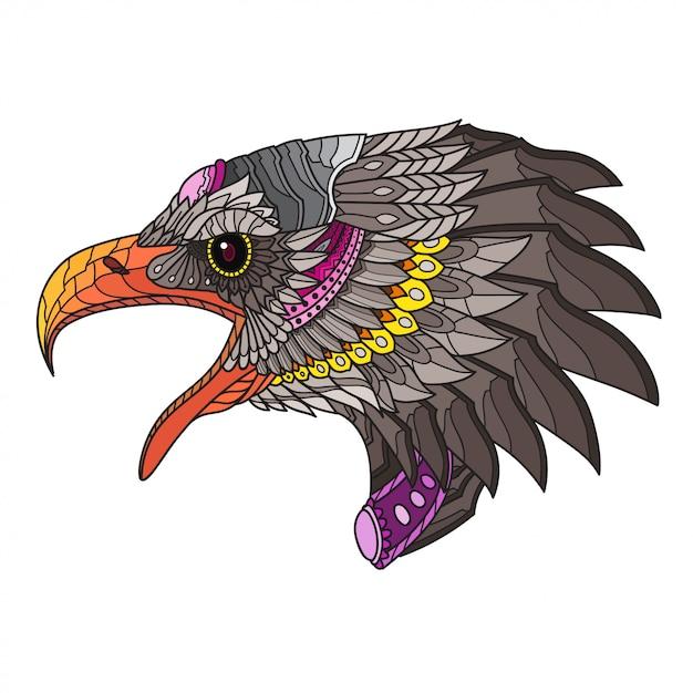 Zentangle stylized eagle head. vector illustration Premium Vector