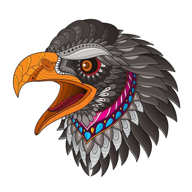 Zentangle stylized eagle head-vector illustrations Premium Vector
