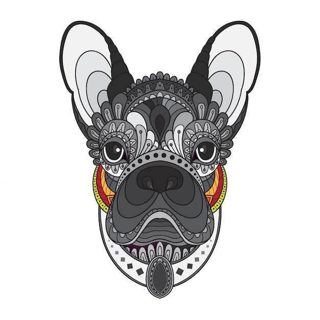 Zentangle stylized french bulldog head. vector illustration Premium Vector