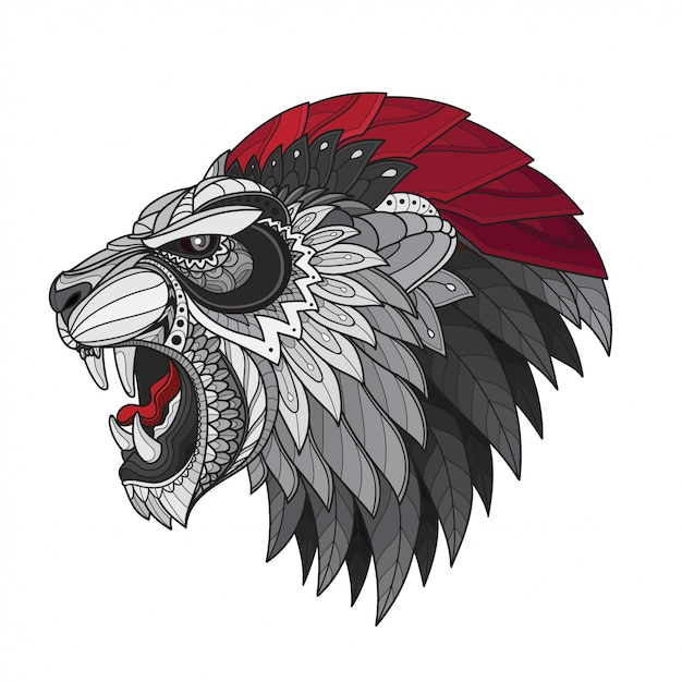 Zentangle stylized lion head-vector illustrations Premium Vector