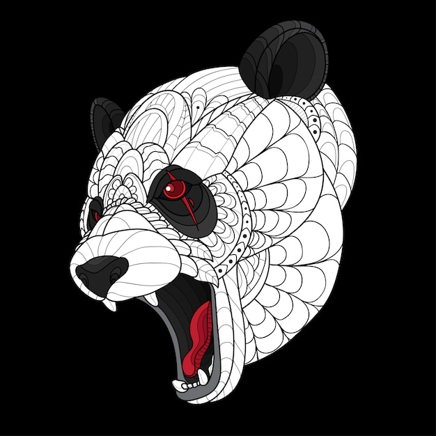 Zentangle stylized panda head Premium Vector