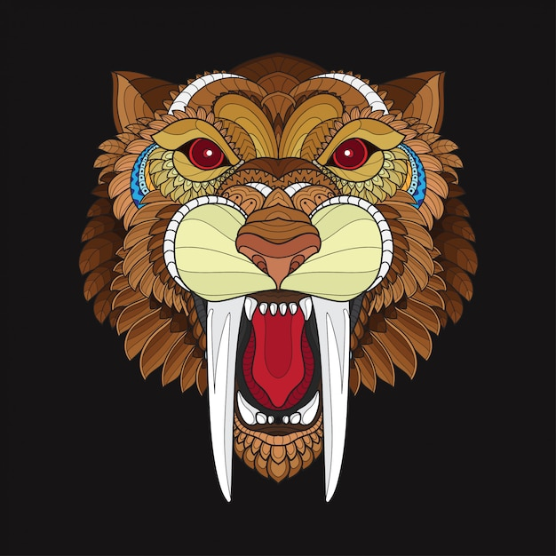 6c7f8eea7 Zentangle stylized saber toothed tiger head Vector | Premium Download