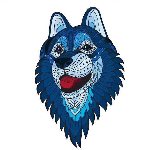 Zentangle stylized wolf head. vector illustration Premium Vector