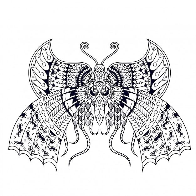 蝶の図、曼荼羅zentangle、tシャツデザイン Premiumベクター