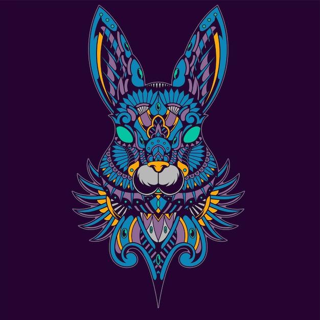 カラフルなウサギのイラスト、マンダラzentangle、tシャツデザイン Premiumベクター