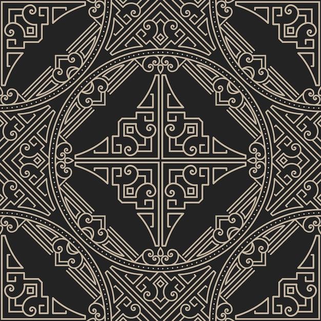Zentangleスタイルの幾何学的な装飾パターン 無料ベクター