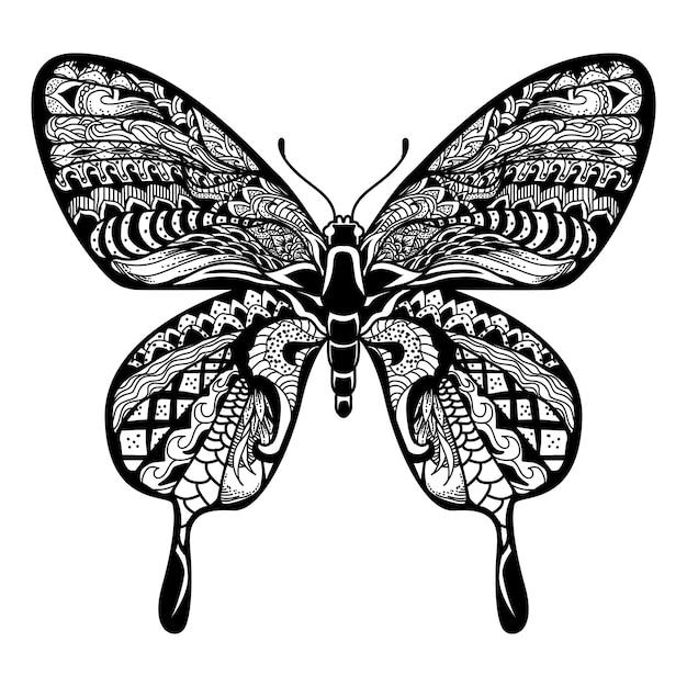蝶の図、マンダラzentangle Premiumベクター