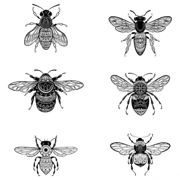 Набор пчел в стиле zentangle. коллекция мух с украшениями. Premium векторы