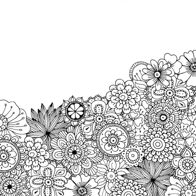 Ручной обращается zentangle каракули иллюстрации для взрослых раскраски Premium векторы