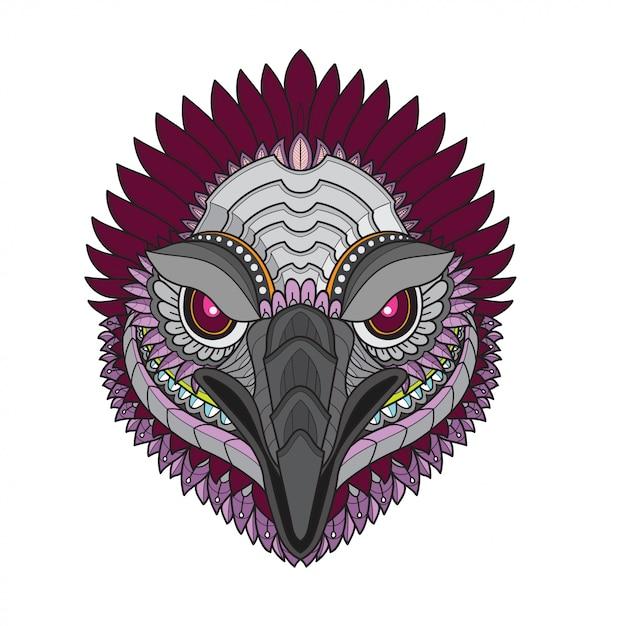 Zentangle図案化されたハゲタカ鳥頭ベクトルイラスト Premiumベクター