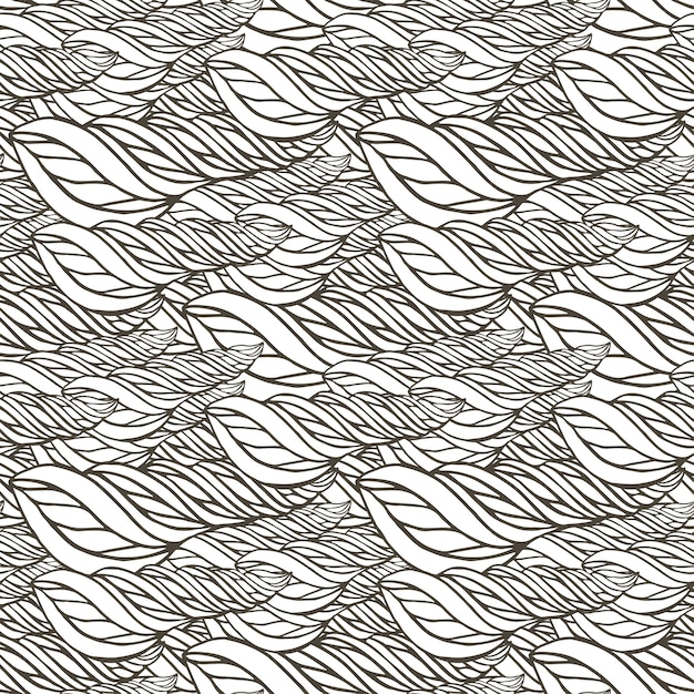 抽象的な波の装飾とベクトルパターン。大人のぬりえの本のページ。 zentangleシームレスなデザイン。 Premiumベクター
