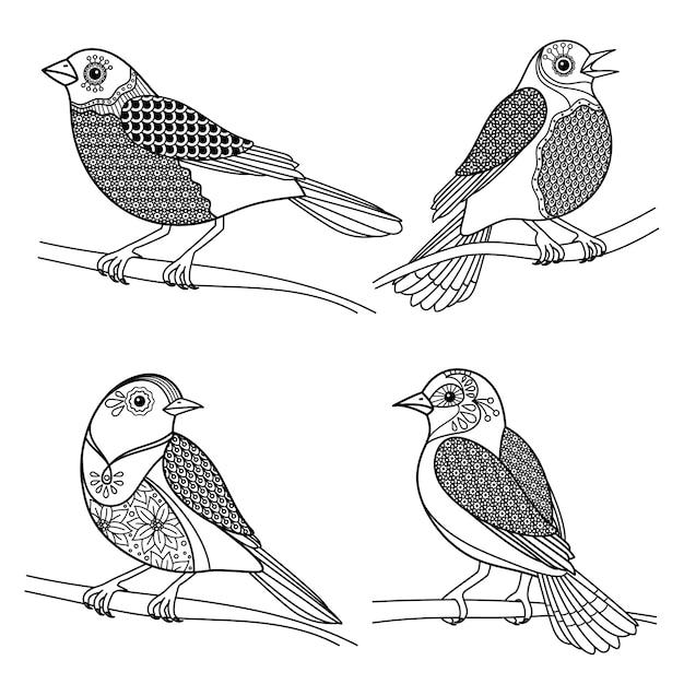 Zentangle鳥 Premiumベクター