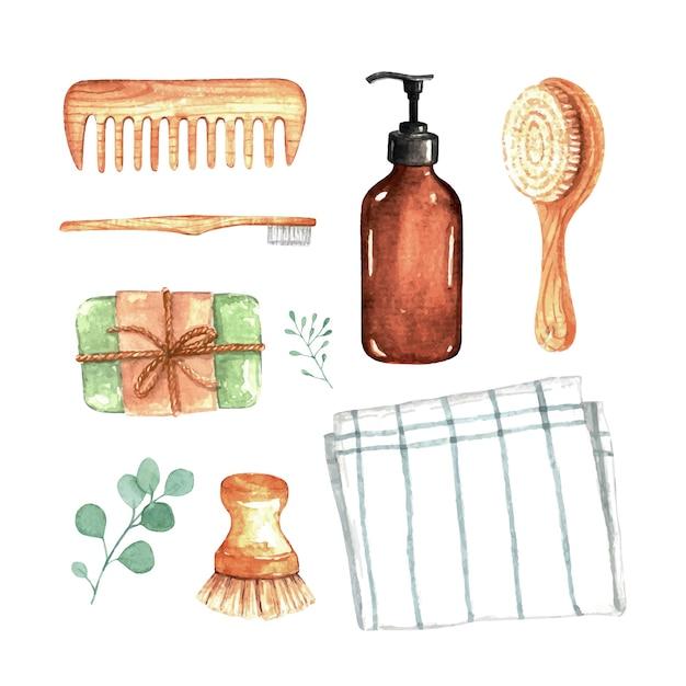 Безотходная коллекция экологически чистых натуральных продуктов для ванной комнаты Premium векторы