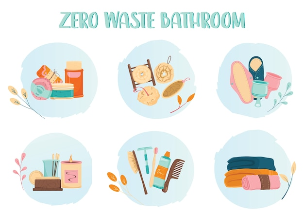 Zero waste bathroom icon set. eco friendly product and tool for bath. eco friendly supplies for hygiene. biodegradable soap and brush, reisable pad and towel. Premium Vector