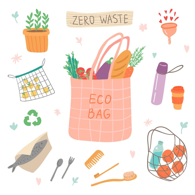 Zero waste colorful set of elements illustration. go green, eco style, eco bag, no plastic, save the planet. recycle ecology protection. Premium Vector