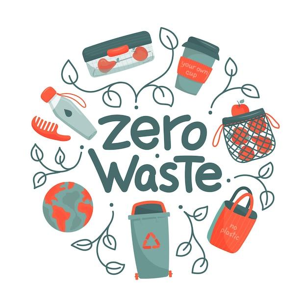 Zero waste concept in a circle Premium Vector