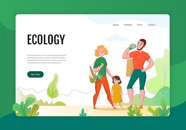 Pagina web dell'insegna piana di concetto di spreco zero con la famiglia facendo uso dei prodotti naturali sostenibili eco-compatibili Vettore gratuito