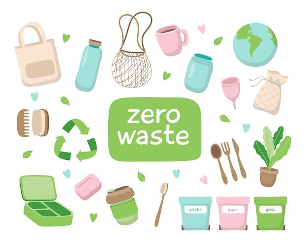 Zero waste concept illustration with different elements. Premium Vector