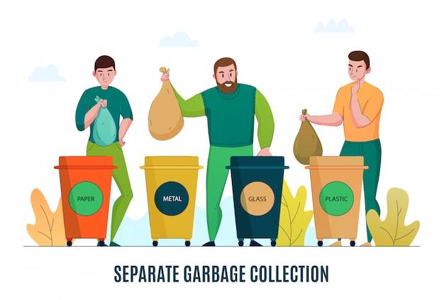 Zero rifiuti attenti all'ambiente immondizia raccolta raccolta differenziata riciclaggio materiali elaborazione banner orizzontale piatto promozione Vettore gratuito