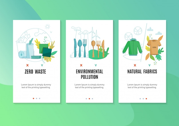 Zero waste environment friendly natural products promotion 3 flat vertical banners with textile household cleaners Free Vector