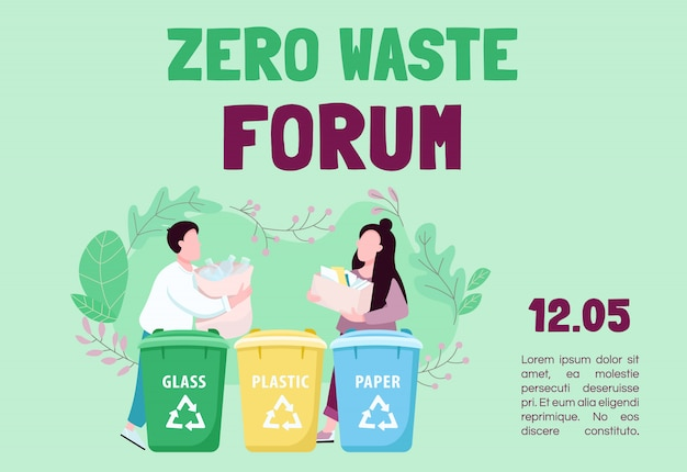 Zero waste forum banner flat template. trash sorting and recycling. brochure, poster concept design with cartoon characters. eco friendly living horizontal flyer, leaflet with place for text Premium Vector