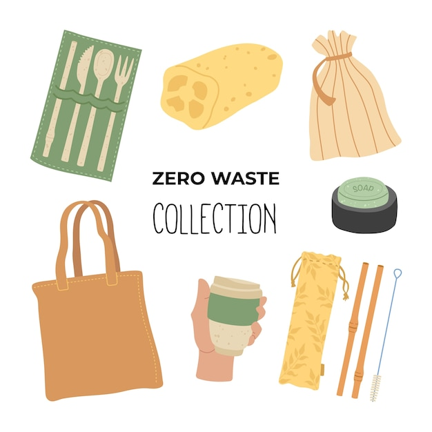 Zero waste hand drawing set of basic items. where to start using less plastic, main objects. go green, say no to plastic. Premium Vector