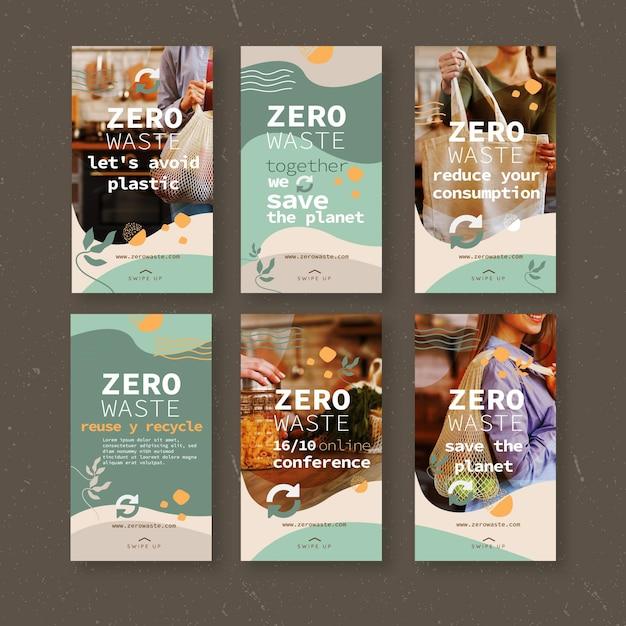 Modello di storie instagram a rifiuti zero Vettore gratuito