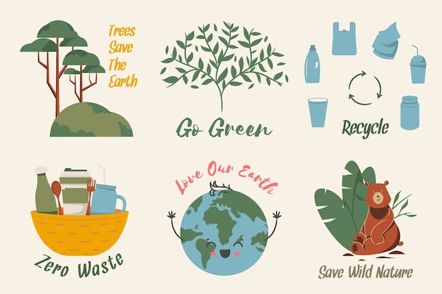 Zero waste loving the earth ecology badge collection Free Vector