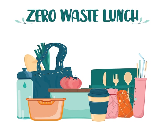 Zero waste lunch set. dish, cup and cultery for people who care about ecology. lunch box, bamboo cultery and reusable cup and straw. Premium Vector