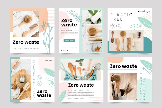 Zero waste plastic free products instagram posts Free Vector