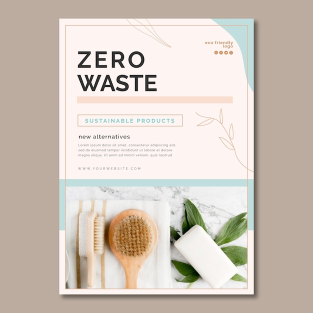 廃棄物ゼロのポスター 無料ベクター