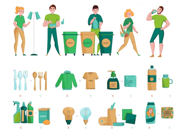 Zero waste protecting environment collecting sorting choosing natural organic sustainable materials flat icons images set Free Vector