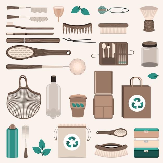 Набор нулевых отходов. многоразовые пакеты, щетки и бутылки, стеклянные банки, эко-пакеты, деревянные столовые приборы, расчески, зубные щетки, менструальная чашка, кружка-термос. Premium векторы
