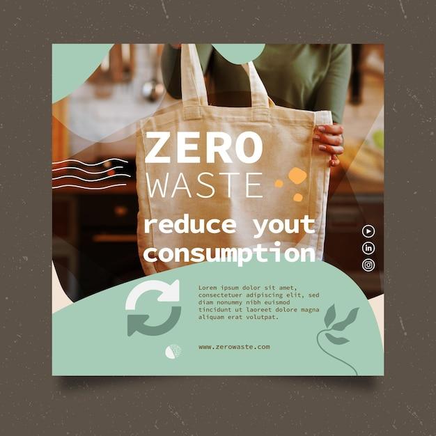 Modello di volantino quadrato rifiuti zero Vettore gratuito