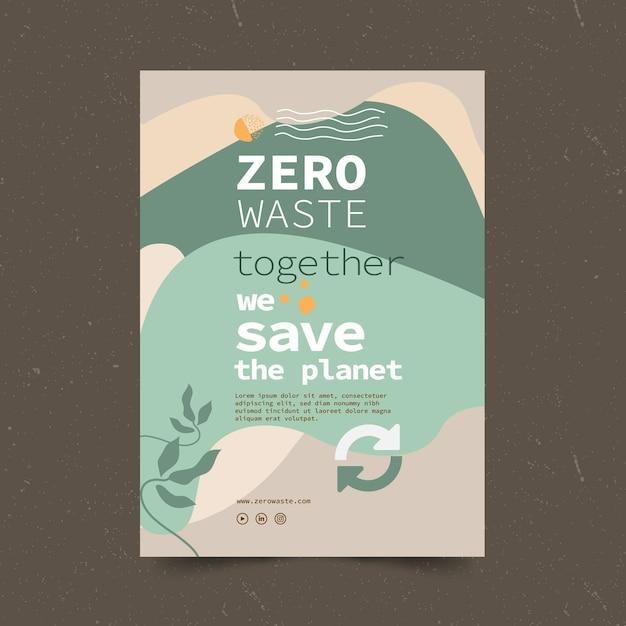 Volantino modello rifiuti zero Vettore gratuito