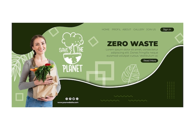 Zero waste web template Free Vector