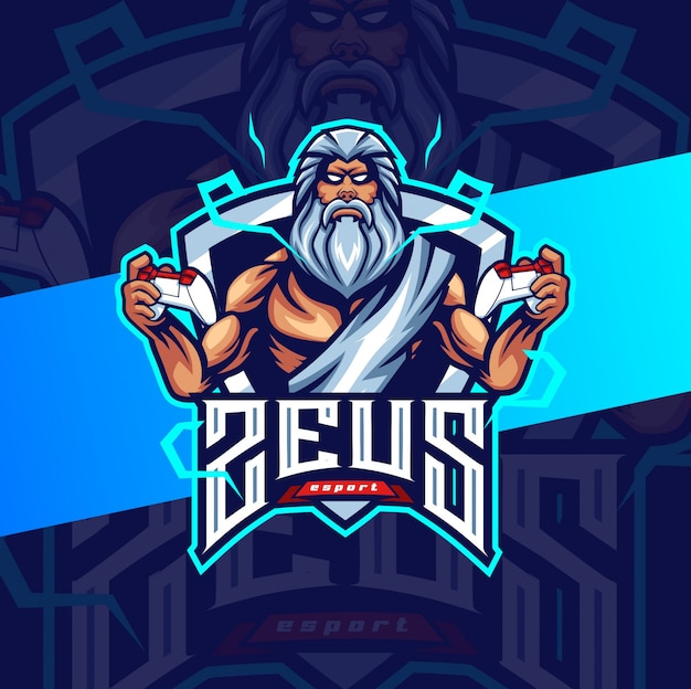 Zeus gaming mascot esport logo design Premium Vector