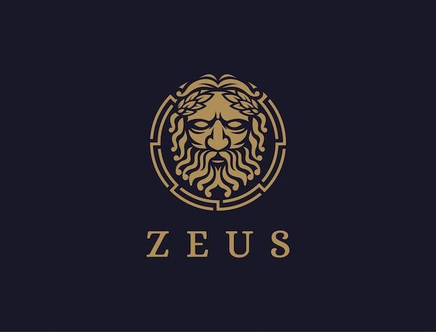 Zeus god logo icon illustration on dark background ...