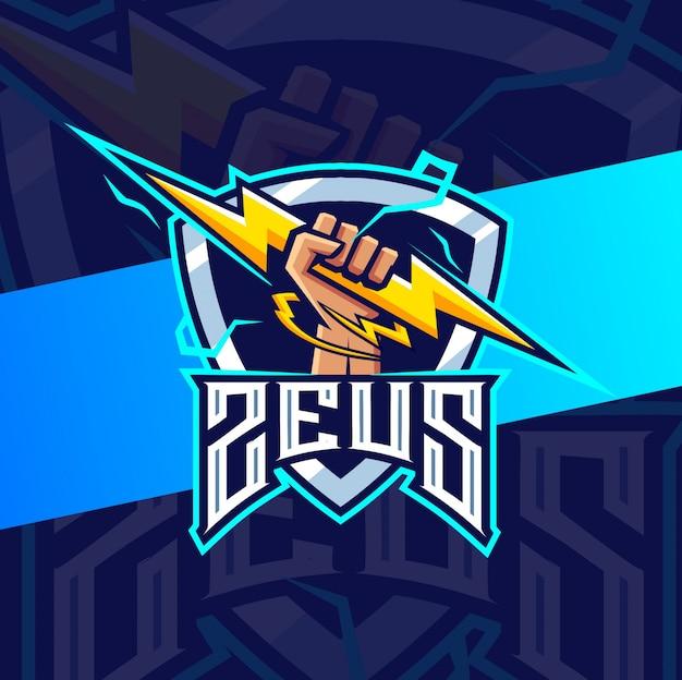 Зевс рука с талисманом грома киберспорт дизайн логотипа Premium векторы