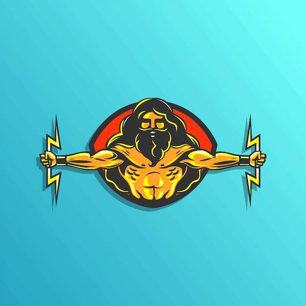 Zeus logo illustartion for gaming sticker vector | Premium ...