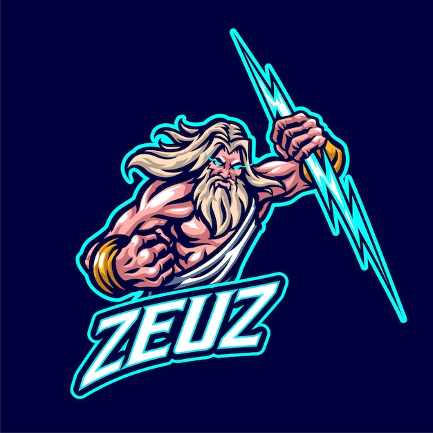 Zeus mascot logo for esports and sports team Premium Vector