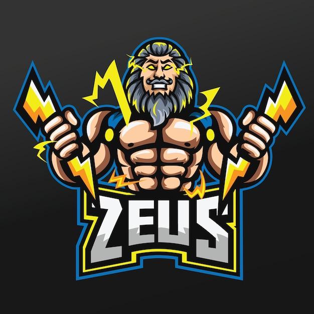 Zeus thunder gods mascot sport illustration design for logo esport gaming team squad Premium Vector
