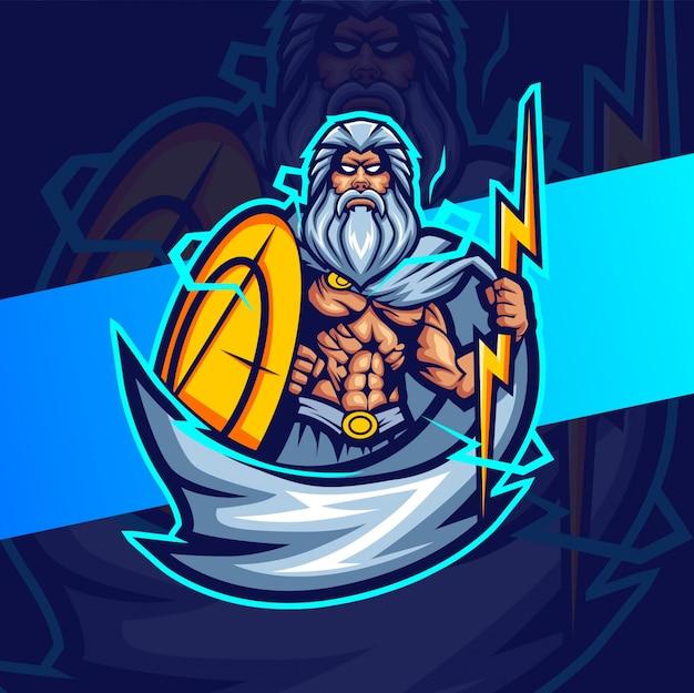 Зевс с талисманом грома киберспорт дизайн логотипа Premium векторы